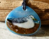 Bird on the beach - Fused glass pendant - seagull on the beach