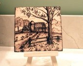 """Woodburned Barn and Silo with Stand - 4""""x4"""" Pyrography"""