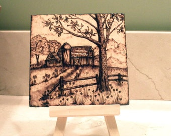 "Woodburned Barn and Silo with Stand - 4""x4"" Pyrography"