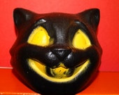 Vintage Black Cat Head, Yellow Cat Eyes, Halloween Black Cat, Happy Cat, Plastic Head
