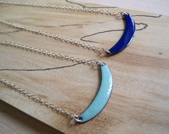 Sweet Spot Reversible necklace, Robins Egg Blue and Cobalt Blue, Sterling Silver Chain and Lobster Clasp 16  18 ino