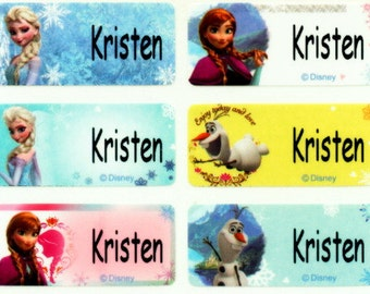 Frozen M waterproof washable personalized name label sticker tag school daycare baby children Disney girl princess paper goods stationary