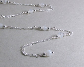 Rainbow Moonstone and Sterling Silver Chain Adjustable Anklet