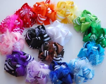boutique set of ALL YEAR mini MOD hair bow clips .. perfect for all ages