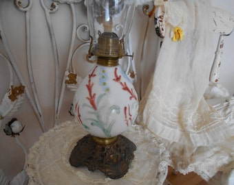 milk glass antique hurricane oil lamp, raised floral painted bowl, socony burner, parlor lamp, front porch, american farmhouse