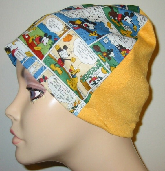 Mickey Mouse  Print  Lightweight  Hat -Chemo, Cancer, Alopecia, Sleep Cap, Summer Chemo Hat