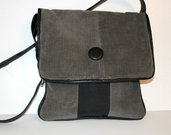 ON SALE Recycled Grey Corduroy and Black Leather Cross Body Shoulder Bag