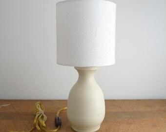 Hand Thrown Ceramic White Vase, Mini Table Lamp