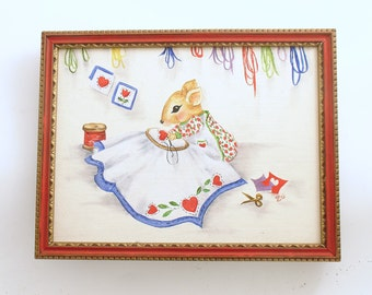 Vintage Painting Mouse Sewing Quilting Framed Art