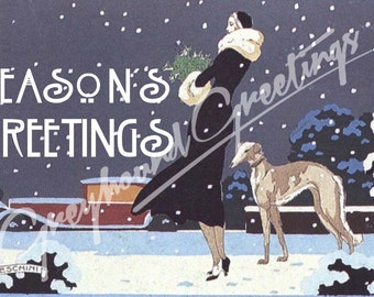 Vintage Altered Art Greyhound and Lady Season's Greetings Cards - Set of 4, with envelopes