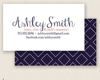 NAVY & PINK - Double Sided - DIY Printable - Mommy Calling Card Template
