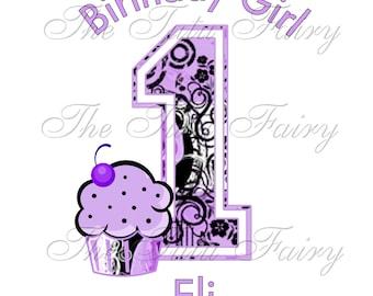 swirl purple cupcake personalized Birthday shirt t-shirt name age baby toddler 12 18 2t 3t 4t 5t 5/6 7 1st first girl custom headband