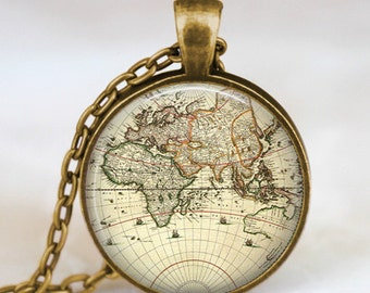 World map necklace, vintage globe pendant , world map pendant , teacher gift, world travel adventurer  , world map globe jewelry