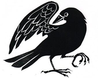 Dancing Crow Lino Print, Linocut , printmaking