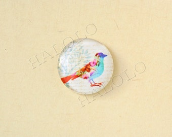 4pcs handmade bird  round clear glass dome cabochons 25mm (250070)