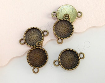 10pcs antique bronze round base with two loops connectors - for 12mm round cabochons. BN401