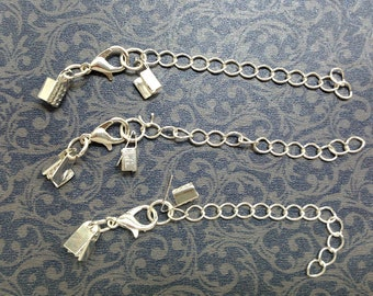 10 pcs silver finish extension chain with lobster clasp  CH67