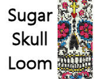 Loom Bracelet Pattern Instant Download Sugar Skull Day of the Dead Beaded Cuff Bracelet Pattern Digital PDF Delica Seed Bead Pattern
