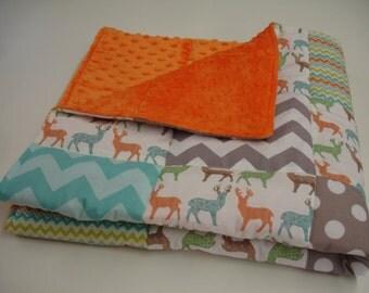Meadow Deer Aqua Chevron and Polkas Minky Baby Blanket MADE TO ORDER No Batting