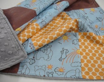 Elephants You Are My Sunshine in Blue Minky Baby Blanket 25 x 32 READY TO SHIP On Sale