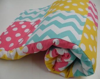Chevrons and Dots in Hot Pink Yellow and Aqua Minky Blanket You Choose Size and Minky Color MADE TO ORDER No Batting
