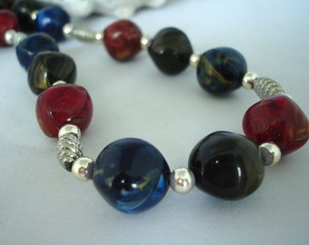 Long Red, Blue, Green Necklace - Acrylic Plastic Beads - Silver Spacers- Fashion Jewelry - Gift Idea - Marbled