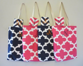 Bridesmaid Totes - Bridesmaid Gifts - Quatrefoil Totes With Chevron Coozies - 4 Monogrammed Tote Bags - Welcome Bags