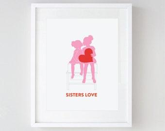Children's Wall Art, Sisters' Love, Nursery Art, Girls Room, Valentine's Day Gift, Silhouette Art by Vana Chupp