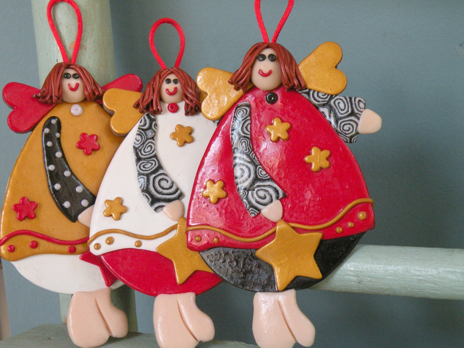 Set of 3 Angel Ornaments Decor, Christmas Tree Ornament, Red, white, gold Angel, Baby Girl Decoration