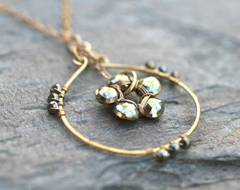 """Gold Pyrite """"Fools Gold"""" Circle 14 KT Gold Filled Handmade Necklace 16 Inches, Gold Filled Jewelry, Pyrite Pendant"""