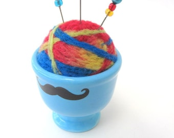 SHOP CLOSING SALE - Mustache Needle Felted Pin Cushion - In Blue Egg Cup