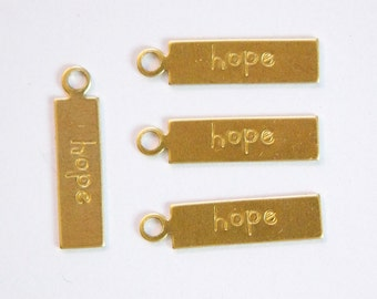 HOPE Rectangle Raw Brass Word Charm Drop with Loop 22mmx6mm (8) chr193R