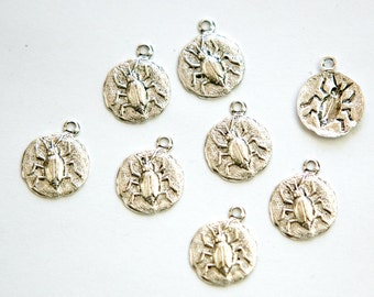 Antiqued Silver Plated Beetle Charm Drops with Loop (8) chr051J DISCONTINUED