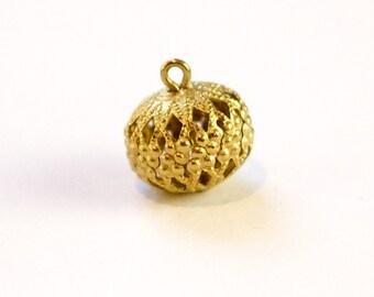 Vintage Raw Brass Filigree Bead Drop Charm with Loop (6) drp057B