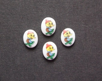 Vintage Glass Baby Duck Cabochons Japan 10X8mm (6) cab421S