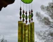 Windchime Lime with Amber Stained Glass Suncatcher