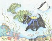 SCUBA Scottie Dog Illustration, #1, Scottie Dog Art, Coral Reef, Print
