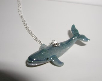 Blue Whale Hand Painted Necklace - Porcelain Sea Creature