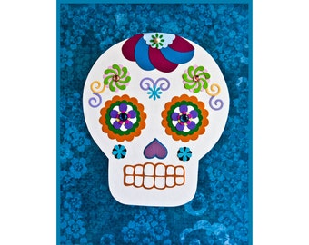 Dia de los Muertos // Day of the Dead // Collage Art Print Blue