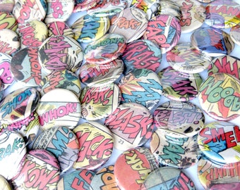 Fighting Words Comic Buttons // 100 buttons 1.25 inches