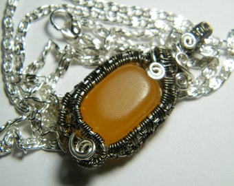 Clearance // Wire wrapped Golden Calcite bead necklace