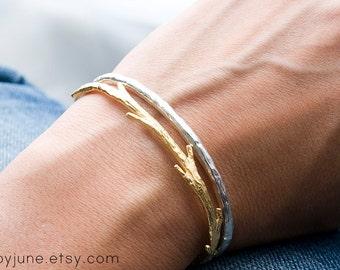 14k Gold Twig Cuff Bracelet | Stacking Bracelets| Nature Inspired Braclets
