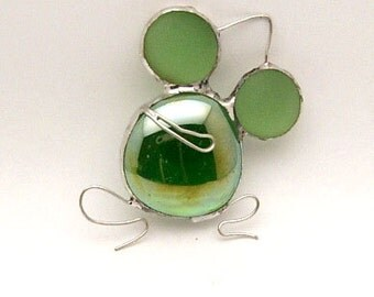 Handcrafted Stained Glass Nugget Green Frog Suncatcher Sun Catcher