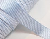 Blue Ribbon, Baby Blue and White Stripe Single-Faced Satin Ribbon 1 1/2 inches wide x 5 yards, Offray Oxford Ribbon