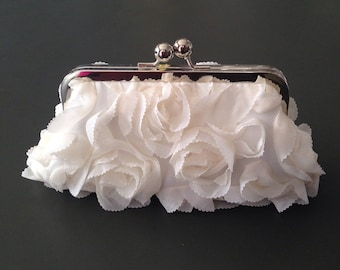 1 Personalized Rosette Ivory Clutch for Krystle