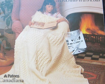 Vintage Patons Afghans Crochet and Knit Pattern Book