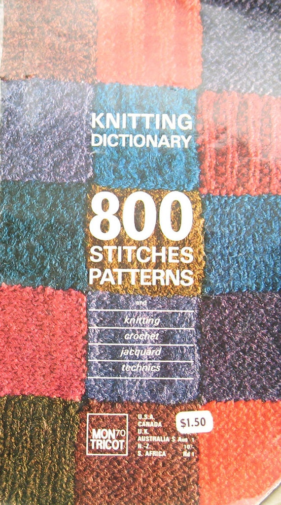 Knitting Pattern Dictionary : Vintage Knitting Dictionary 800 Stitches Pattern Book Mon