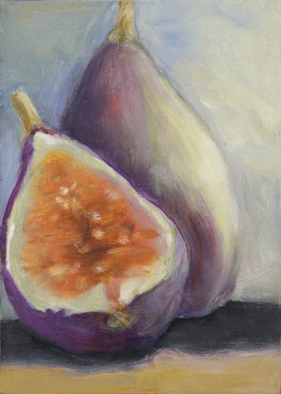 Figs ACEO Original Oil  Fruit Still Life Art  Wall Decor