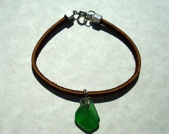 Sea Glass Bracelet -Leather Cord Jewelry -Green Seaglass Bracelet