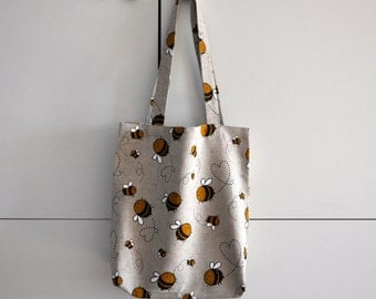 Canvas tote bag, strong linen for spring summer autumn, Bees